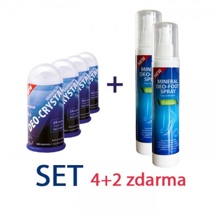 4 x 100 gr DEOCRYSTAL + 2 x DEO FOOT SPRAY 150 ml  AKCIA