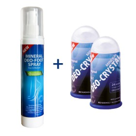 DEO FOOT SPRAY 150 ml + 2 x DEOCRYSTAL 100 gr
